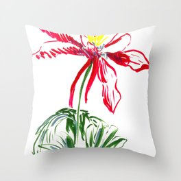 Red Columbine Flower in watercolor Throw Pillow