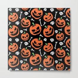 Happy halloween pumpkins, skulls and bones pattern Metal Print