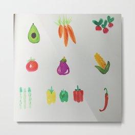 Veggie Watercolor Metal Print