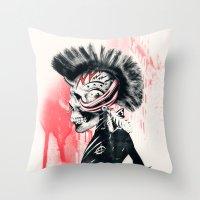 punk Throw Pillows featuring PUNK by Ali GULEC