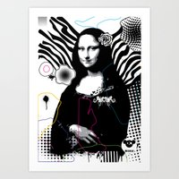 mona lisa Art Prints featuring mona lisa by Bella Gallery