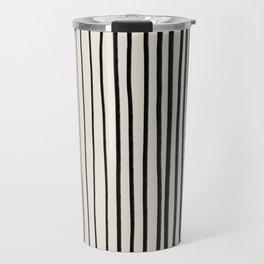 Black Vertical Lines Travel Mug