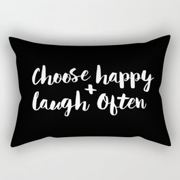Choose Happy and Laugh Often black and white contemporary typography design home wall decor canvas Rectangular Pillow