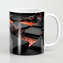 Black Sqaures In Lava 3D Ultra HD Coffee Mug