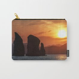 Beautiful seascape - Three Brothers Rocks in Pacific Ocean at sunset Carry-All Pouch