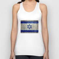 palestine Tank Tops featuring The National flag of the State of Israel - Distressed worn version by Bruce Stanfield