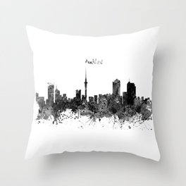 Auckland Black and White Watercolor Skyline Throw Pillow
