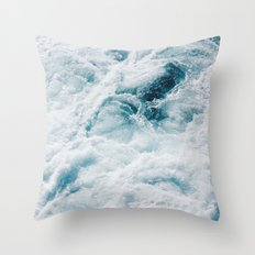 sea - midnight blue storm Throw Pillow