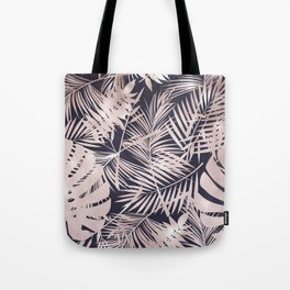 Navy Pink Shimmer Girly Tropical Palm Leaves Tote Bag