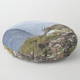 The Ups and Downs of Being A Mountain Goat No. 2a Floor Pillow