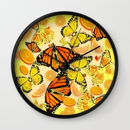 YELLOW MONARCH BUTTERFLY  & ORANGES MARMALADE Wall Clock