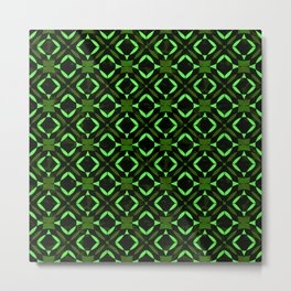 Art Deco Tile Pattern Lime And Green On Black Metal Print