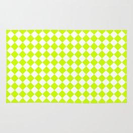 Small Diamonds - White and Fluorescent Yellow Rug