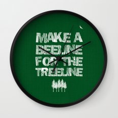 Make a beeline for the treeline Wall Clock
