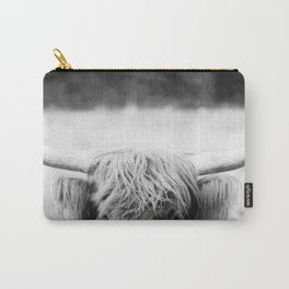 Black and White Highland Cow Carry-All Pouch