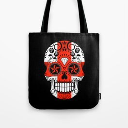 Sugar Skull with Roses and Flag of England Tote Bag