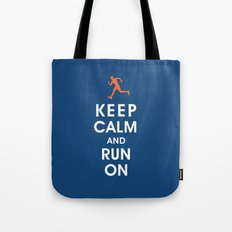 Keep Calm and Run On (male runner) Tote Bag