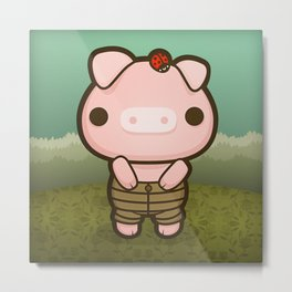 Jerome the Distracted Pig Metal Print