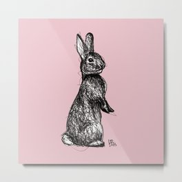 Pink Woodland Creatures - Bunny Metal Print