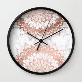 Modern chic rose gold floral mandala illustration on trendy white marble Wall Clock