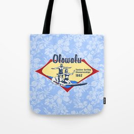 Tandem Surfing Hawaiian Surfboard and Pareau Designs Tote Bag
