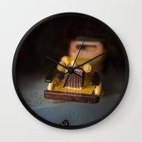 grand theft auto Wall Clocks featuring Vintage Auto by Maria Moreno