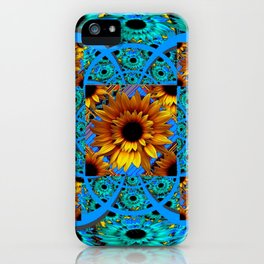 AWESOME BLUE & GOLD SUNFLOWERS  PATTERN ART iPhone Case