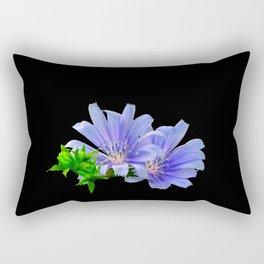 Think Flowers - Blue Chicory Rectangular Pillow
