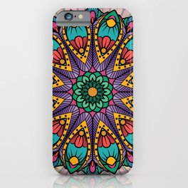 Bohemian Boho Chic Hippie Teal Peacock Feather Mandala Design iPhone Case