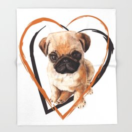 Cute Pug puppy Throw Blanket