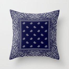 Bandana - Navy Blue - Southwestern - Paisley  Throw Pillow