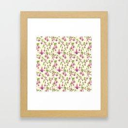 Watercolour Fuchsia Flower Pattern - Pastel Yellow Framed Art Print