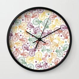 Whimsical bicycle pattern & retro polka dots Wall Clock