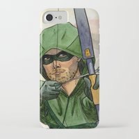 green arrow iPhone & iPod Cases featuring Arrow by Nicole Cuvin