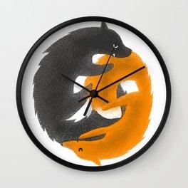 Wolf and Fox. Yin and Yang Wall Clock