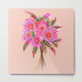 Pink Flower Bouquet Metal Print