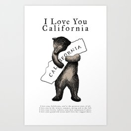 i love you california Art Print