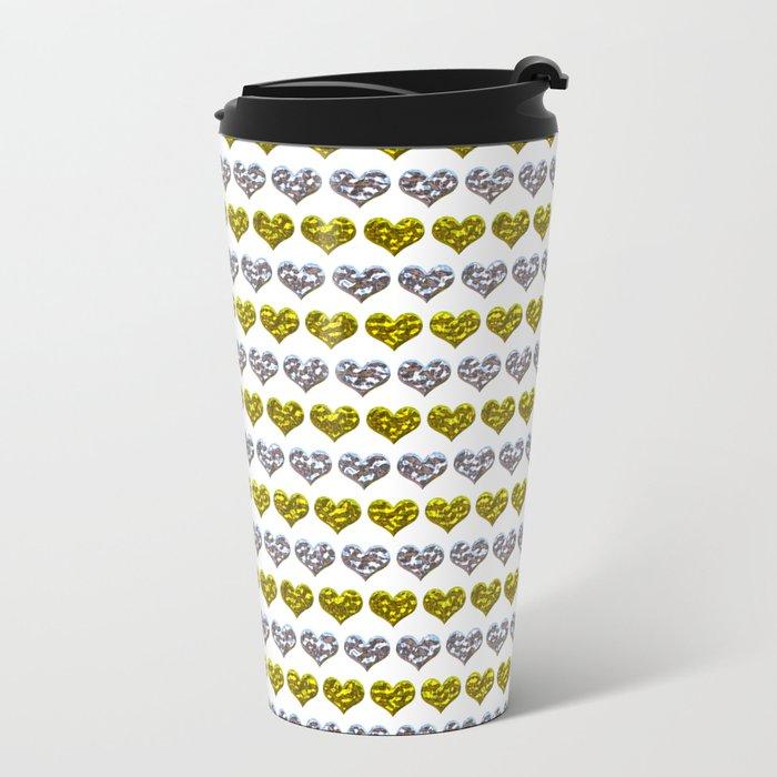 Silver and Gold Hearts Pattern Metal Travel Mug