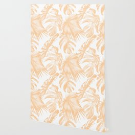 Island Vacation Hibiscus Palm Coral Wallpaper