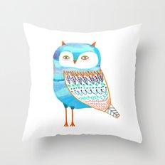 Blue Owl. Throw Pillow