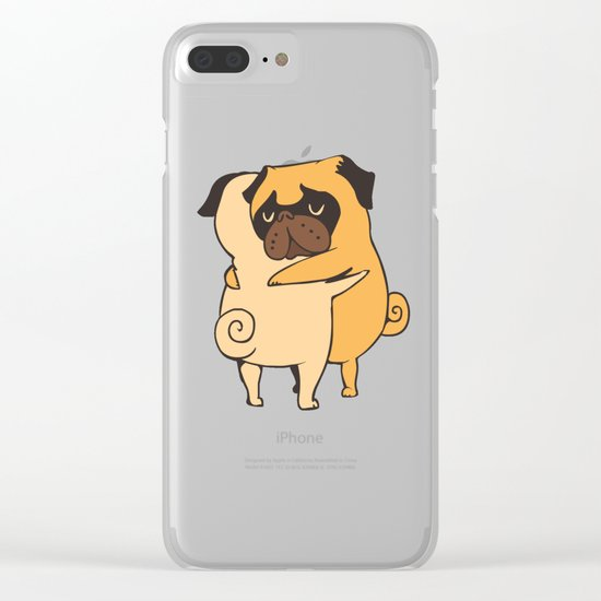 Pug Hugs Clear iPhone Case