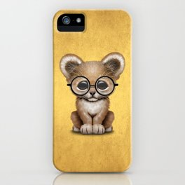 Cute Baby Lion Cub Wearing Glasses on Yellow iPhone Case