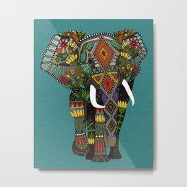 floral elephant teal Metal Print