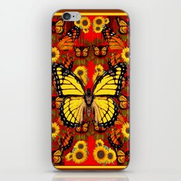 COFFEE BROWN MONARCH BUTTERFLY SUNFLOWERS iPhone Skin