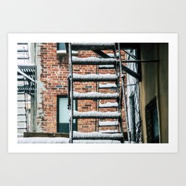 Fire Escape in Snow. East Village. New York City. Art Print