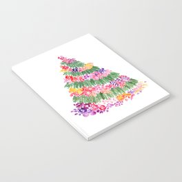 Floral Christmas tree in white Notebook