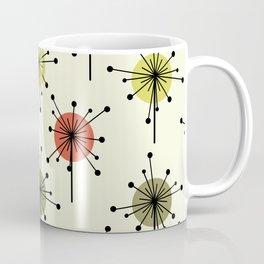 Midcentury Sputnik Starburst Flowers Chartreuse Coffee Mug