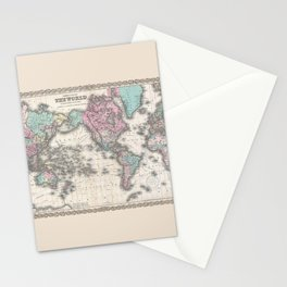 1855 Colton Map of the World on Mercator Projection Stationery Cards