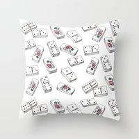 puerto rico Throw Pillows featuring Dominos de Puerto Rico by A Different Place and Time