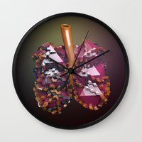 lungs Wall Clocks featuring Lungs by Victoria Cartwright